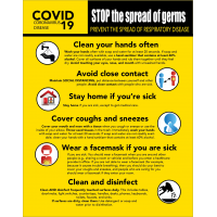 "COVID-19 Coronavirus Prevention Warning Sign 22"" x 28"""